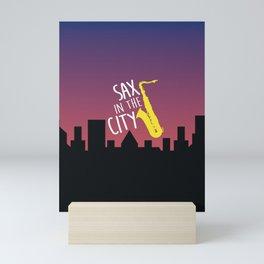 Sax in the City Mini Art Print