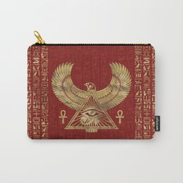 Eye of Horus - Wadjet Gold on Red Leather Carry-All Pouch