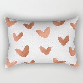 Rose Gold Pink Hearts on Paper Rectangular Pillow