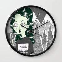 loll3 Wall Clocks featuring ☽ ZELINA ☾ by lOll3