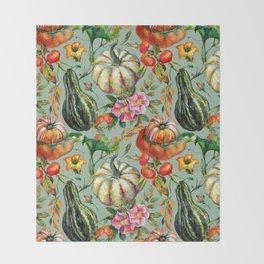 Vintage modern hand painted floral roses pumpkins pattern Throw Blanket