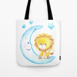 baby lion, blue moon with stars, baby boy room, baby shower gift, watercolor painting Tote Bag