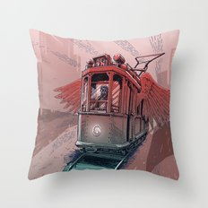 Winged Tram Throw Pillow