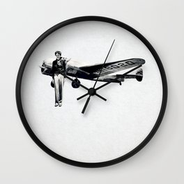 Amelia Earhart with her Airplane Wall Clock