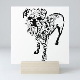 St Simeon Griffon Bruxellois black & white Mini Art Print