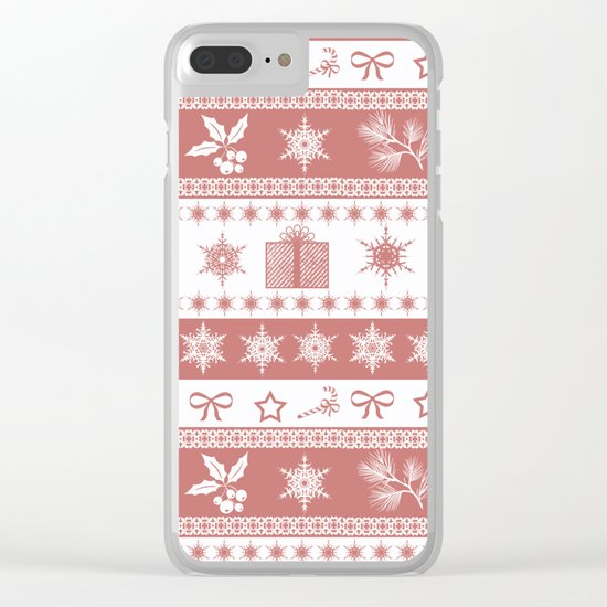 Christmas brown - white pattern. Clear iPhone Case