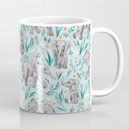 Baby Elephants and Egrets in Watercolor - egg shell blue Coffee Mug