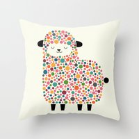 sheep Throw Pillows featuring Bubble Sheep by Andy Westface