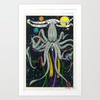 cthulu Art Prints featuring Darrell Merrill Nerd Artist CTHULU PRIEST by Nerd Artist DM