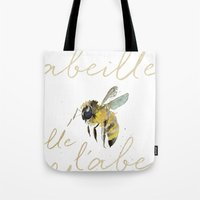 craftberrybush Tote Bags featuring l'abeille  by craftberrybush