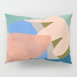 Shapes and Layers no.30 - Large Organic Shapes Blue Pink Green Gray Pillow Sham