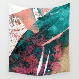 Laughter: a vibrant, colorful, minimal abstract piece in teal, pink, gold, and white Wall Tapestry