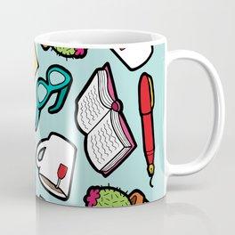 Book Club Pattern in Blue Coffee Mug