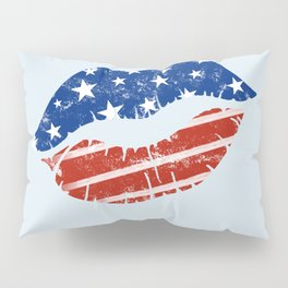 American Patriotic Lips / American Flag Lips / Fourth of July Lips Pillow Sham