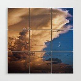 Clouds, Birds, Moon, Venus Wood Wall Art