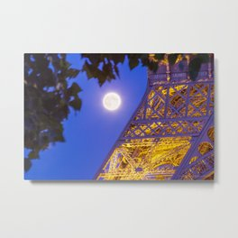 Eiffel Tower Moon Metal Print