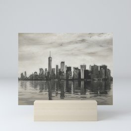 Charcoal sketch of Manhattan skyline in NYC Mini Art Print