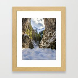 Winter and spring valley and mountains Framed Art Print