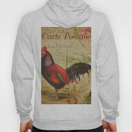 Vintage Post Card French Rooster Hoody