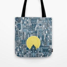 space city sun blue Tote Bag