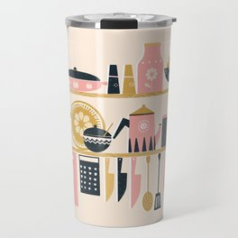 Colorful Cooking In A Mid Century Scandinavian Kitchen Travel Mug