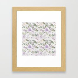 Lavender pastel green white watercolor floral pattern Framed Art Print