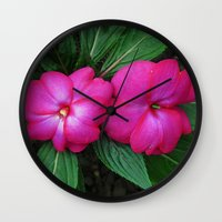 hot pink Wall Clocks featuring Hot Hot Pink by Nevermind the Camera