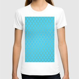 Moroccan Nights - Gold Teal Quadrefoil Pattern - Mix & Match with Simplicity of Life T-shirt