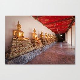 Golden Buddha Statues Canvas Print