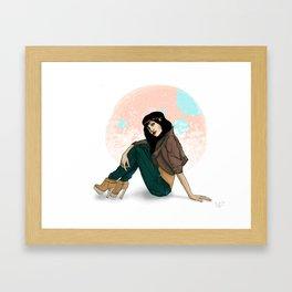 girl with hair band Framed Art Print