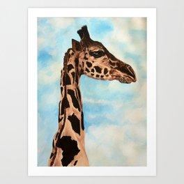 Giraffe with African Continent Spot Art Print