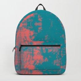 Living Coral Turquoise Shibori Tye Dye Backpack
