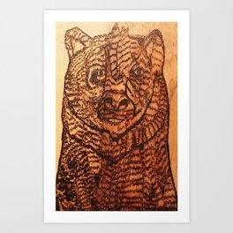 Bear pyrography Art Print
