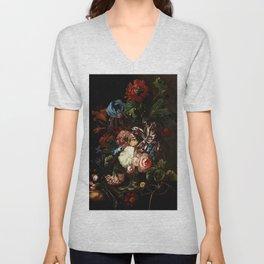 """Ernst Stuven """"Still life of flowers"""" Unisex V-Neck"""