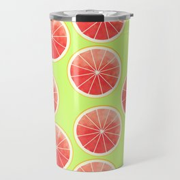 Pink Grapefruit Slices Pattern Travel Mug