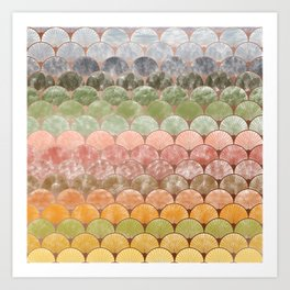 Watercolor art decó pattern Art Print