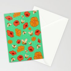 Poppies & Bees Stationery Cards