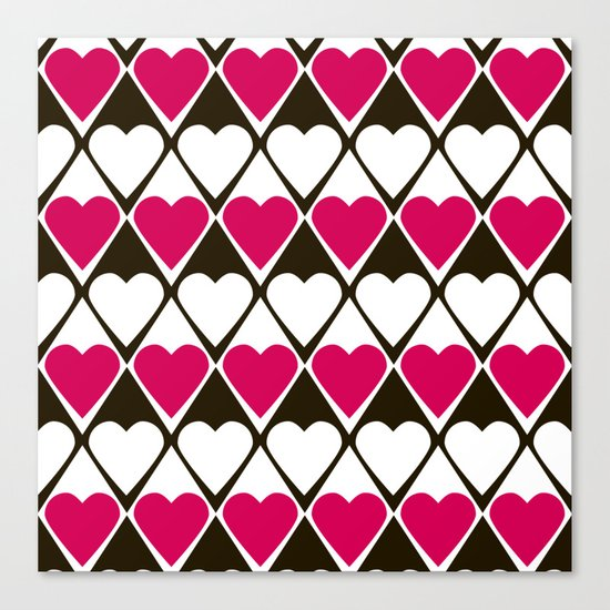 Abstract print with hearts Valentines Day love Canvas Print