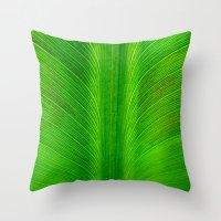 banana leaf Throw Pillows featuring Banana Leaf by moo2me