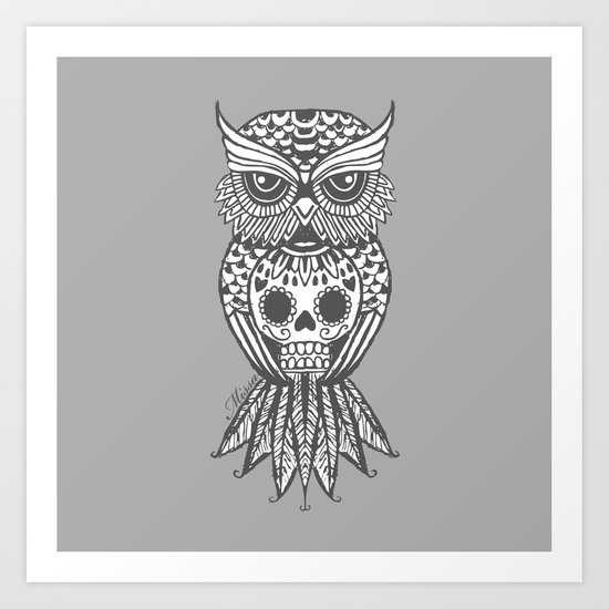 Grey sugar skull owl Art Print by Missa Designs | Society6