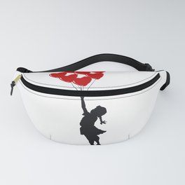 Girl With Heart Balloons Fanny Pack