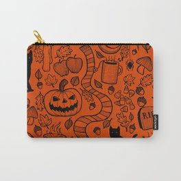 October Pattern- Black & Orange Carry-All Pouch