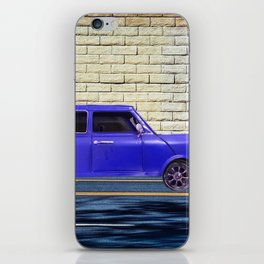 blue classic car on the road with brick wall background iPhone Skin