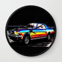 Muscle Car Mustang By Annie Zeno  Wall Clock