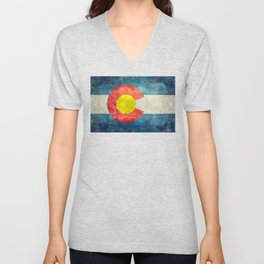 Colorado State Flag in Vintage Grunge Unisex V-Neck