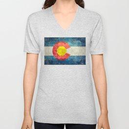 Colorado State Flag in Vintage Grunge Unisex V-Neck