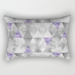 GRAPHIC PATTERN Sparkling triangles | silver & purple Rectangular Pillow