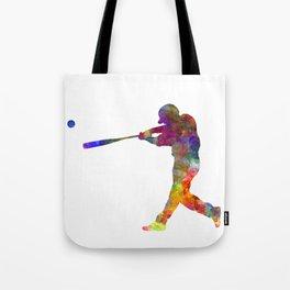 Baseball player hitting a ball Tote Bag