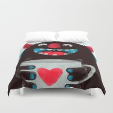 Demon with a cup of coffee (contrast) Duvet Cover