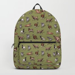 Tiny Goats on Green - Goat Herd Pattern Backpack